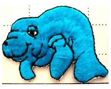 Lot of 4 - Blue Manatee Embroidery Applique patch iron on - Kids