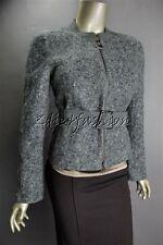 $3700 New AKRIS Gray White Tobago Boucle Tweed Wool Nylon Belt Crop Jacket 6 36
