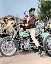 "ELVIS PRESLEY HARLEY DAVIDSON MOTORCYCLE 11x14"" HAND COLOR TINTED PHOTO"