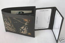 Mossy Oak Camo Leather Wallet Billfold, Camouflage Men's Card Holder Brown