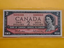 Canada $2 1954 (aUNC), Serial # R/U 6886888. Nice Number