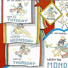 Vintage Embroidery Transfer repo 238 Angels for Days of the Week dish towels