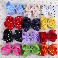 12pcs Infant Girl Baby Toddler Dot Bowknot Headband Hair Bow Band Accessories