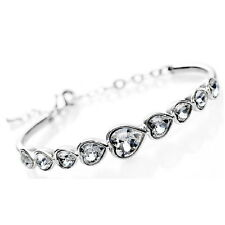 White Gold Filled Silver Wedding Heart Bangle Made With Swarovski Crystal T46