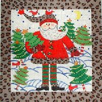 KWC Christmas Tree Santa with Cardinals HP Hand Painted Needlepoint Canvas
