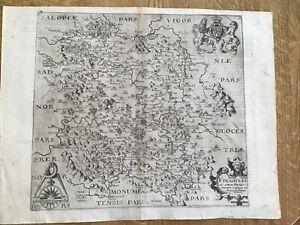 ANTIQUE MAP HEREFORDSHIRE RARE 1607 1ST ED BY SAXON/KIPP FROM CAMDEN'S BRITANNIA
