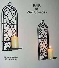 Pair of Wrought Iron Candle Holders - Rustic Country Arched Sconces Black CW49