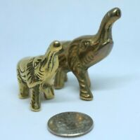 Vintage Miniature Brass Elephants- Lucky Family Baby & Mama Set Of 2