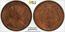 E26 British Straits Settlement 1908 1/2 Cent PCGS MS-62 Red Brown