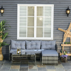 Outsunny 3pcs Rattan Wicker Sofa Patio Furniture Set W/ Table Cushions Grey