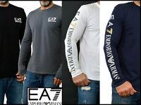NWT EA7 EMPORIO ARMANI White Black Grey Blue GA long Sleeved T SHIRT Stretch FAB