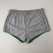 Mens Vtg Van Cort Lt Gray Drawstring Short Shorts w/Multicolored Stripes Sz M
