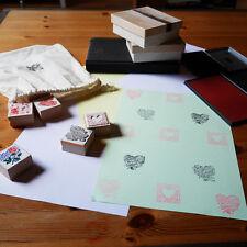 6-teiliges Stempel-Set gummiert, verschiedene Herz- und Rosen-Motive
