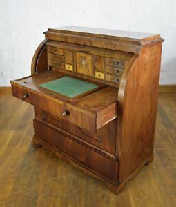 Antique large Danish flame cylinder bureau writing desk