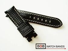 - Bob carbon echtlederuhrband 22 mm para pan-faltschließe negro con costura blanca