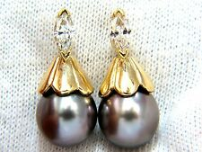 █$4000 10mm natural tahitian pearl  & .80ct  diamonds drop cap earrings 14kt.