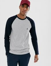 French Connection FCUK Mens Long Sleeve T-Shirt Grey Melange/Navy Size M New