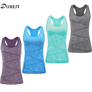 Women Yoga Tops Stretchy T Shirt Quick Dry Running Sports Gym Ladies Summer Vest
