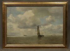 Unauthenticated B.h Hoppe signed Oil Painting Sailboats on the Ocean (American)