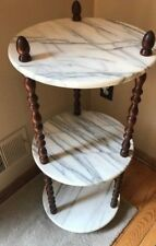 VINTAGE ITALIAN WHITE MARBLE THREE TIER ACCENT TABLE/DISPLAY STAND