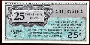 Military Payment Certificate (MPC) 25 Cents Series 461 - 9-16-1946 - CRISP UNC!