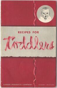 1950 Gerber Baby Food - Recipes for Toddlers Booklet Cookbook Food Children