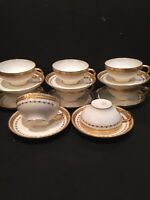 GUERIN LIMOGES CUPS & SAUCERS - SET OF 8 - HEAVY GOLD ETCHED - STUNNING!