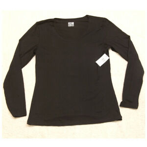 New 32 Degrees Heat Long Sleeve Solid Crewneck Black T-Shirt Top Size Large R12