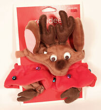 Target Cat Reindeer Costume One Size Hat Collar Booties Christmas Small Dog NEW