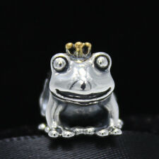 Frog Prince with Gold Crown Two Tone Genuine Silver 925 Pedant Charm bead Disney