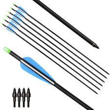 """12 Pcs 31"""" Archery Carbon Arrow Spine 400 Replacement Point Compound Recurve Bow"""
