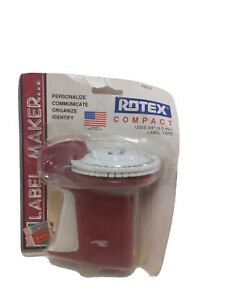 Vintage Rotex Compact Label Maker Red Color 3/8 Tape