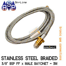 Bromic 3m Stainless Steel Braided Natural Gas Hose 3/8 BSP F With Bayonet Co