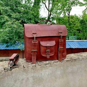 Men's Genuine Vintage Brown Leather Briefcase Messenger Bag Shoulder Laptop Bag