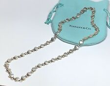 "Tiffany & Co. Rare !Sterling Silver Chain of Heart Link 16"" Necklace W/ Pouch"