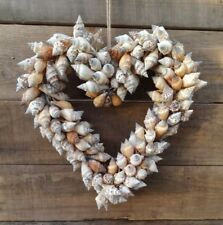 Hanging Heart Wreath Decoration with Natural Shells by Parlane, 23cm