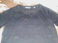 Damen Pullover Netzpullover ¾ Arm schwarz durchscheinend weit Gr. 38