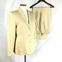 Talbots Womans Beautiful Beige Silk Cotton Blend Pant Suit Sz 8......