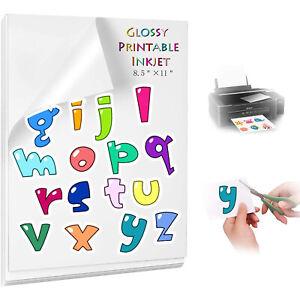 "40x Printable Vinyl Sticker Paper for Inkjet & Laser Printer 8.5""x11"" Waterproof"