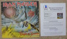 """Iron Maiden Flight Icarus X5 Band Signed 12"""" LP Single Display BECKETT Certified"""