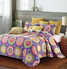"Virah Bella® Collection - ""Suri Purple"" Printed Quilt Set - Queen Size"
