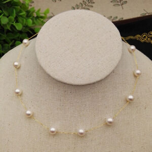 """18"""" Gorgeous AAA+ 7-8mm real natural AKOYA WHITE round pearl necklace 14k"""