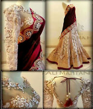 Party Wear Bollywood Replica BEIGE NET Embroidery Bridal LEHENGA Saree 75