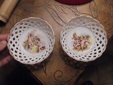 Paire de Petites Coupelles Coupes Porcelaine aux Anges Angelots Célèstes