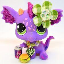 Littlest Pet Shop 2660 Purple & Pink Dragon Glitter Sparkle w/ Green Eyes