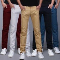 Mens Chino Trousers Skinny Fit Stretch Jeans Casual Cotton Casual Pant