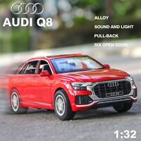 1:32 High Simulation Audi Q8 Sound Light Pull Back Alloy Toy Car Kids Gifts