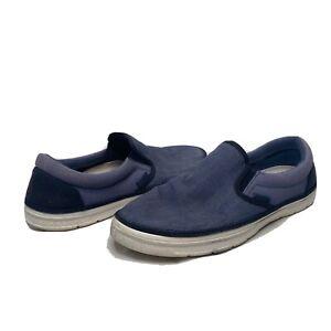 Crocs Plimsolls Mens Slip On Shoes Canvas Blue Size 9 Style 202772 Flexible EUC