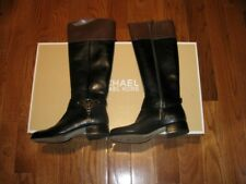 New Womens Michael Kors Fulton Harness Knee High Boots Shoes 5M Black/Mocha