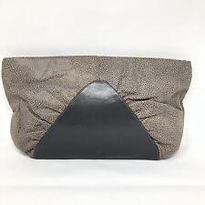 VTG HALSTON Leather Clutch Handbag Bag Gray